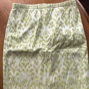 Ann Taylor green leopard print skirt